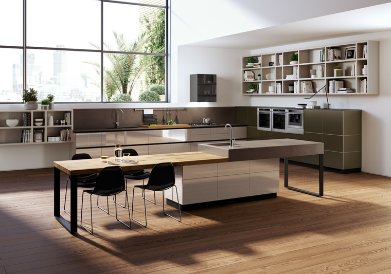pavimento parquet. grande finestra, mobili della cucina neutri con isola centrale, open space arredamento