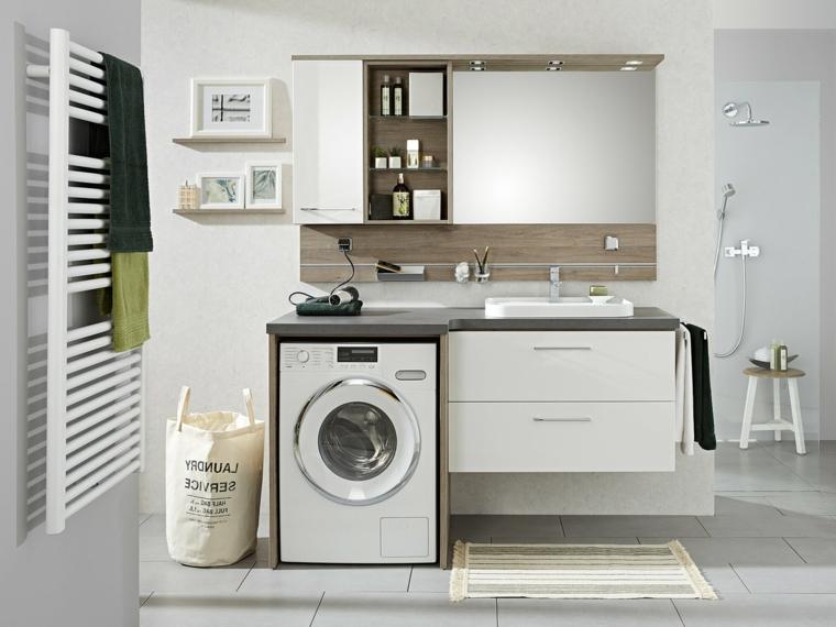 Mobile bagno con lavandino da incasso, mobile di legno per la lavatrice