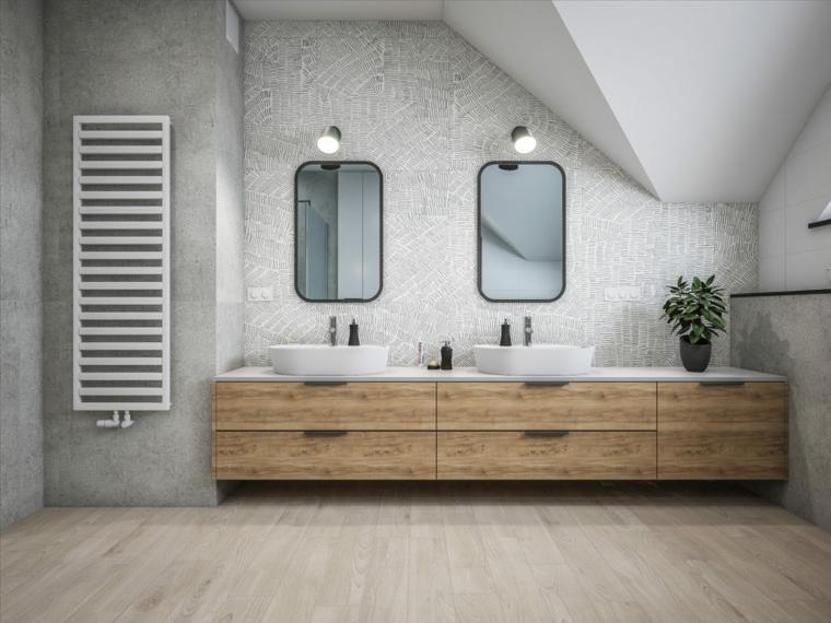 Mobile bagno di legno con due lavandino da appoggio, parete di colore grigio