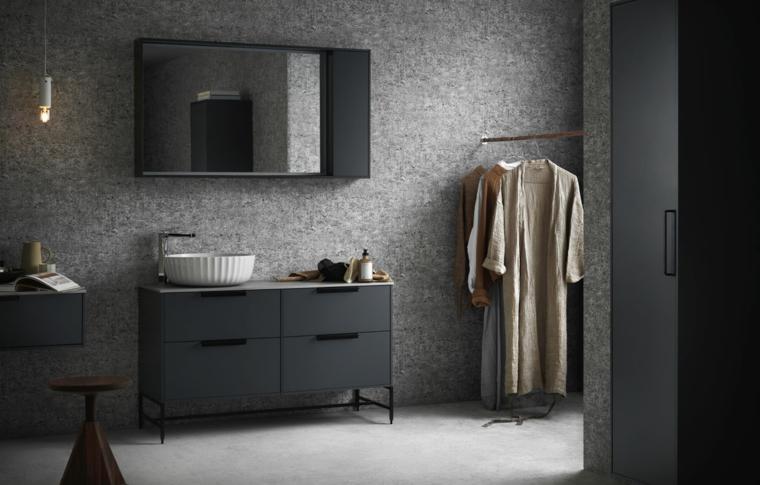 Rivestimenti bagni esempi con pittura di colore grigio sporco, mobili di metallo colore nero e lavabo da appoggio