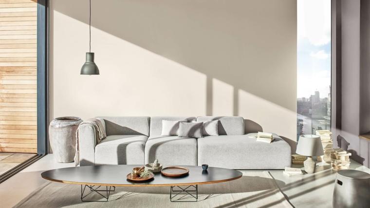 mobili color tortora abbinamenti soggiorno con divano grigio tavolino basso con accessori
