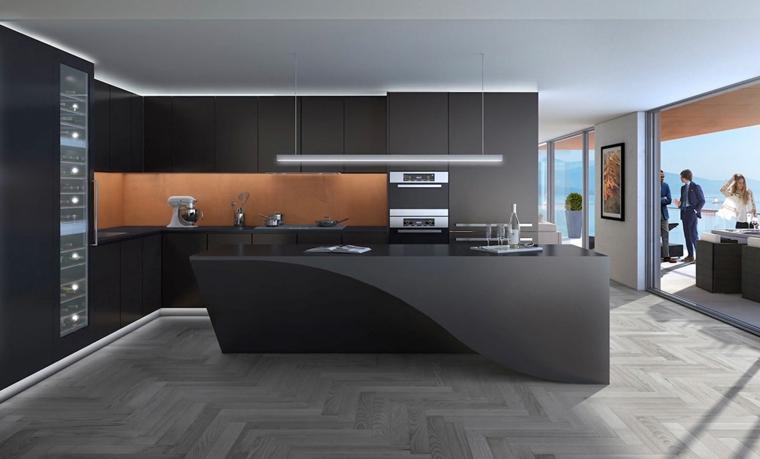 soluzione all'avanguardia per un arredamento cucina moderna nera con isola