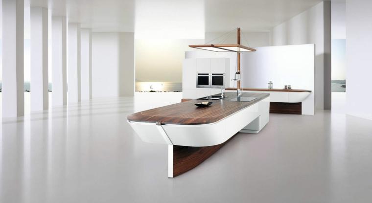 esempio di cucine moderne con isola a forma di barca con top in legno e struttura bianca