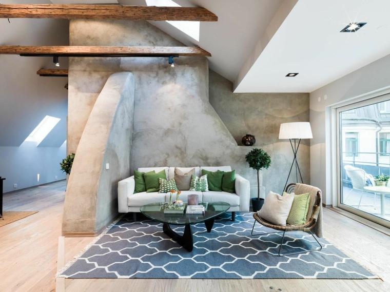 contemporanea soluzione per la zona living con divano bianco e tappeto blu, mansarde moderne