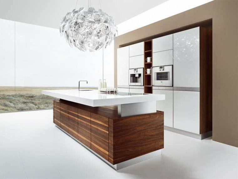 stile essenziale per un arredamento cucine moderne dotate di isola in legno con top bianco