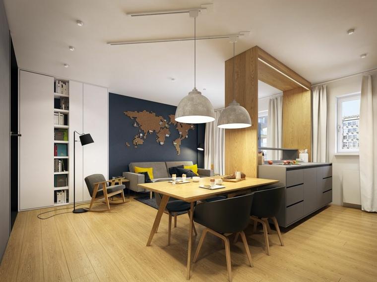 accogliente e funzionale open space cucina soggiorno moderno con pavimento, tavolo e gambe delle sedie in legno
