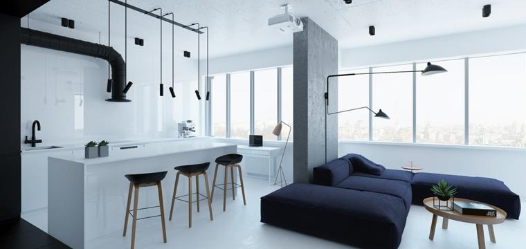 come arredare ambiente unico cucina soggiorno in stile moderno essenziale nei toni del bianco e del nero