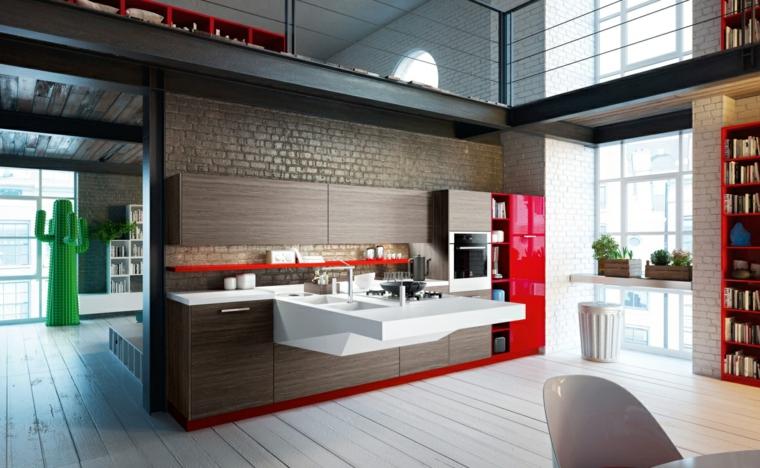ambiente dal design contemporaneo con cucina a parete con mobili wengè e frigo rosso