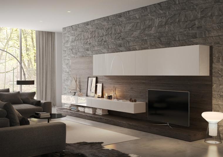 1001 idee per pareti in pietra in tutti gli ambienti interni for Parete attrezzata design moderno