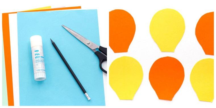 Tanti fogli colorati e l'occorrente per fare delle mongolfiere, lavoretti per bambini facili con la carta