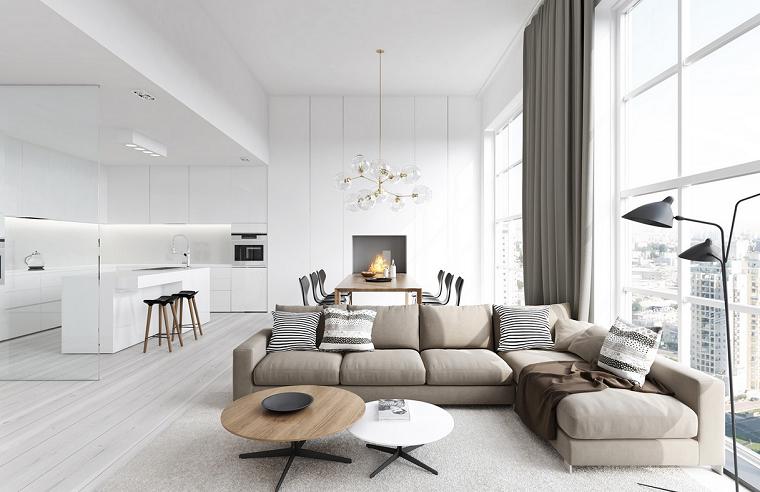 Arredamento soggiorno moderno design con una cucina bianca e divano abbinato a due tavolini