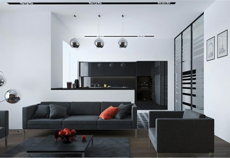 Quadri moderni per arredamento soggiorno con divano e cucina di colore nero