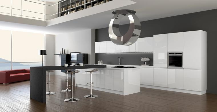 bellissima soluzione per una cucina moderna con mobili bianchi, isola bianca e nera con tavolo