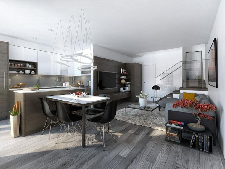 ambiente unico arredato con mobili moderni dai toni neutri, cucina con isola, tavolo da pranzo, divano e bonsai