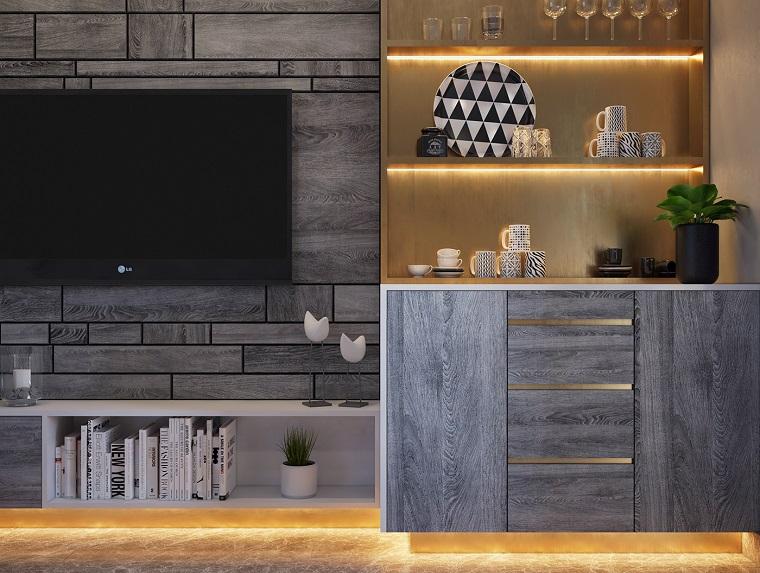 Mobili soggiorno di legno e colore grigio, zona bar con illuminazione led nascosta