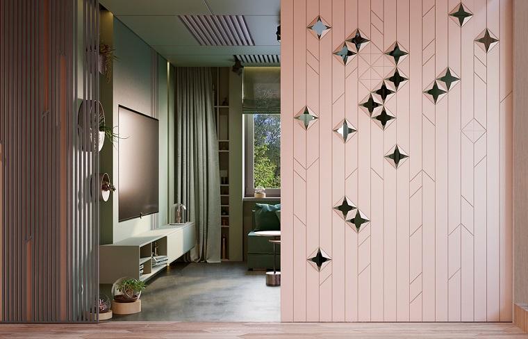 Idee arredo casa e soggiorno con porta scorrevole rosa, decorazione con terrarium piante grasse