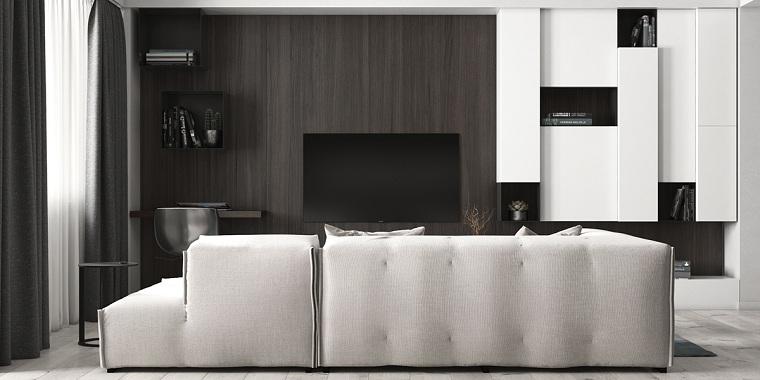 Idea per un soggiorno con parete attrezzata cartongesso con nicchie, divano bianco con penisola