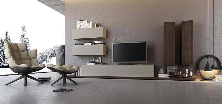 Lampadari moderni soggiorno con mobili sospesi con tv, pavimento grigio in abbinamento alla parete