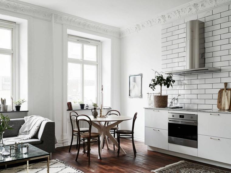 pavimento in parquet e pareti bianche, open space cucina soggiorno idee per ambienti piccoli