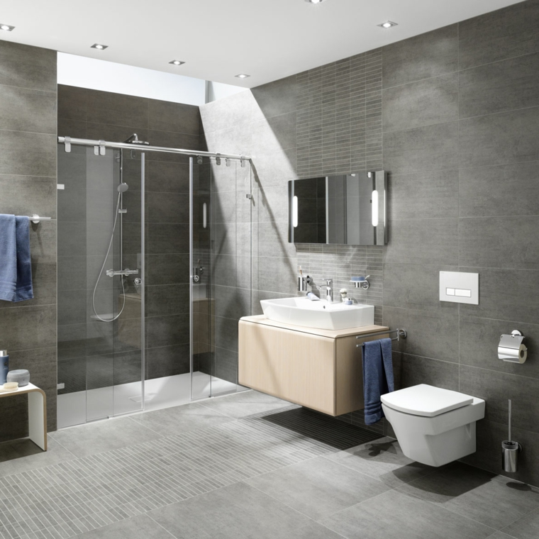 Sala da bagno con box doccia di vetro, parete di colore grigio con piastrelle