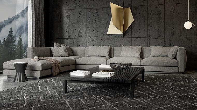 Soggiorni moderni e un'idea con divano colore grigio con penisola, tappeto grande motivi geometrici