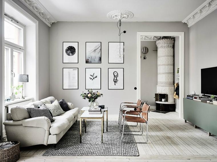 pareti carta da zucchero e tortora soggiorno in stile scandinavo decorazione con tappeto