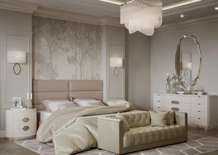 pareti color tortora chiaro e scuro camera da letto in stile classico illuminazione con lampadario in cristallo