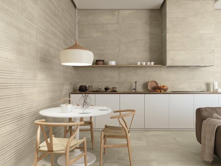 pareti grigio tortora cucina e sala da pranzo insieme open space soggiorno con divano