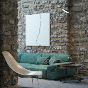 pareti in pietra per soggiorno divano di colore verde decorazione con quadro