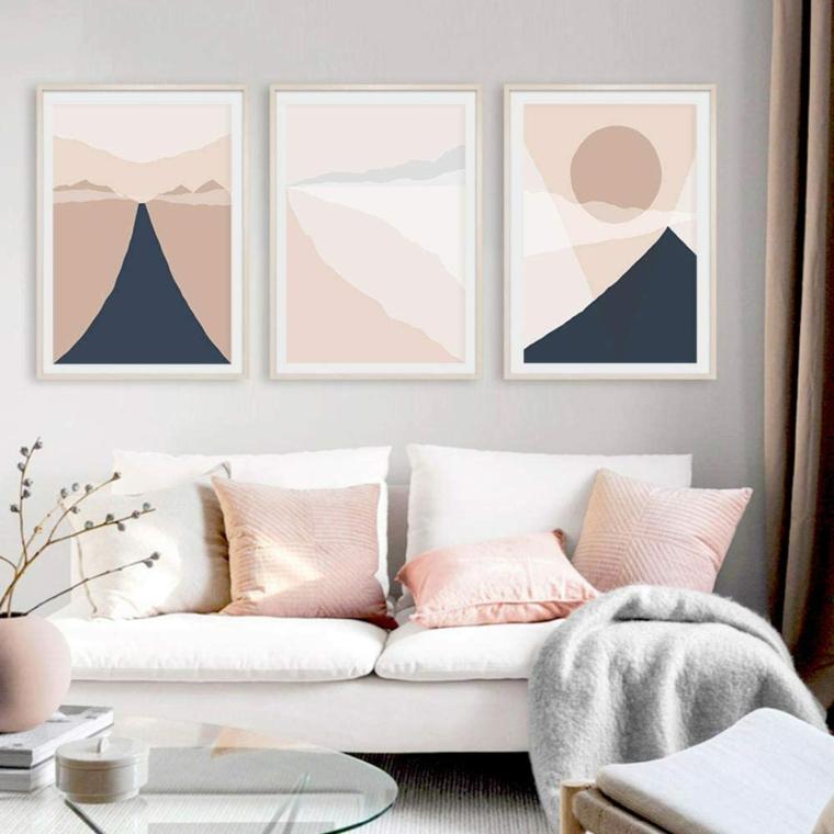 pareti tortora rosato soggiorno con divano bianco tavolino basso di vetro