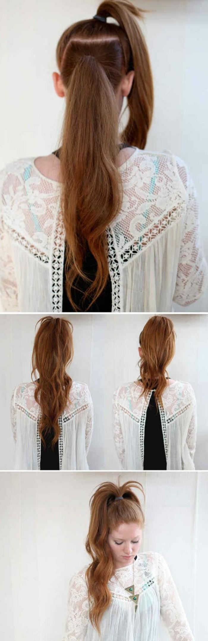 tutorial per realizzare una coda originale, un esempio per acconciature capelli lunghi facili e veloci