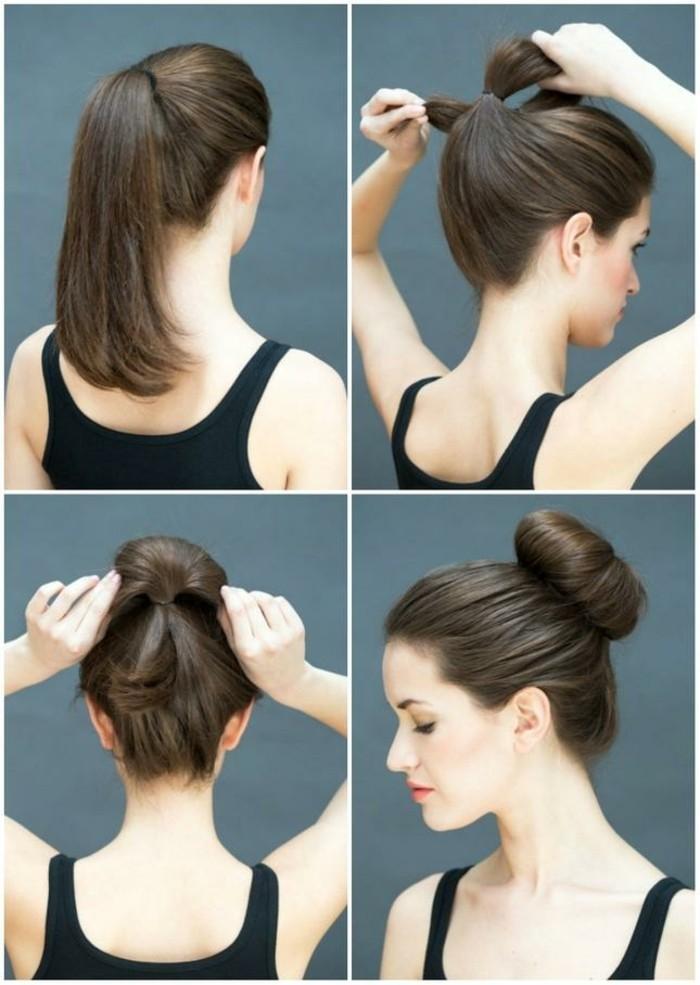 tutorial per realizzare in poche mosse uno chignon alto, acconciature capelli lunghi facili