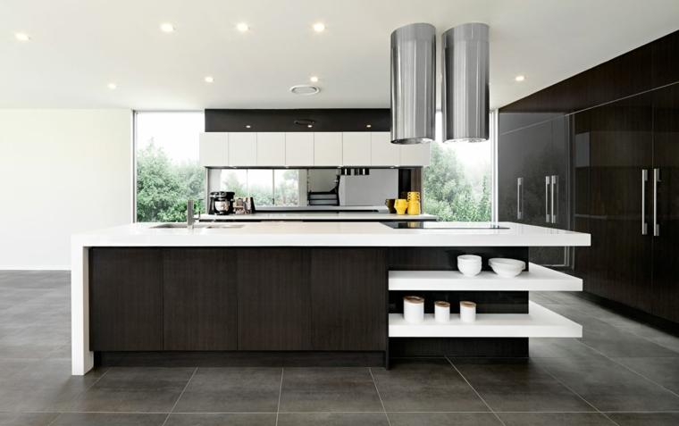 soluzione dal design moderno ed essenziale, cucine moderne bianche e nere con una grande isola