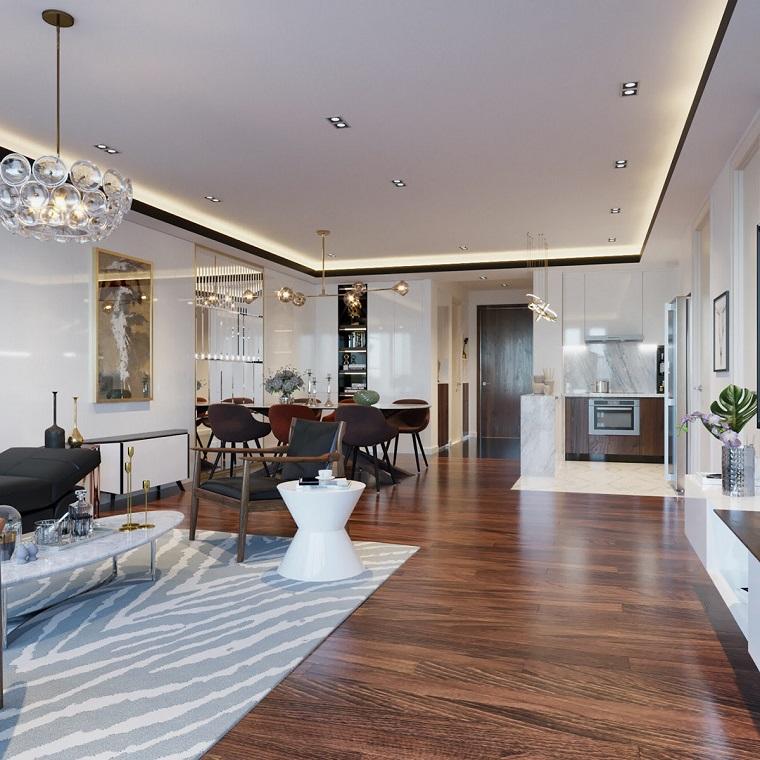 Arredare salotto e sala da pranzo insieme, pavimento in legno con tappeto bianco grigio