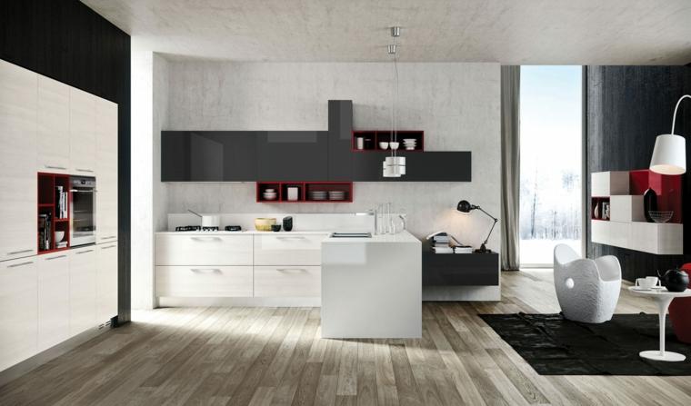 open space con cucina e soggiorno in un unico ampio e luminoso ambiente, mobili bianchi e neri