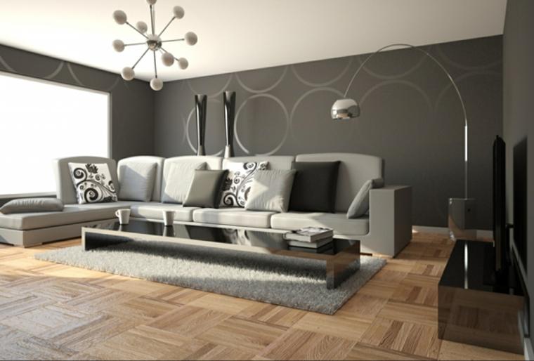 lampadario a sospensione e lampada a piantana di design, divano con chaise longue e parete tortora