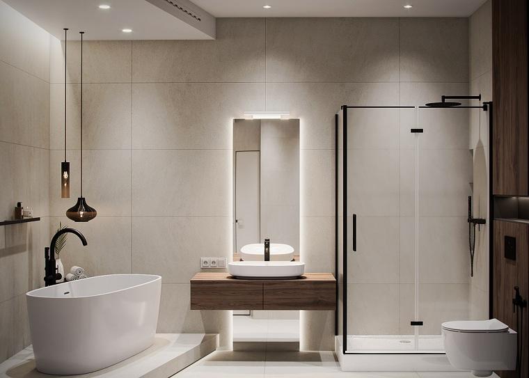 Idee bagno moderno piccolo, sala da bagno con box doccia e vasca forma ovale