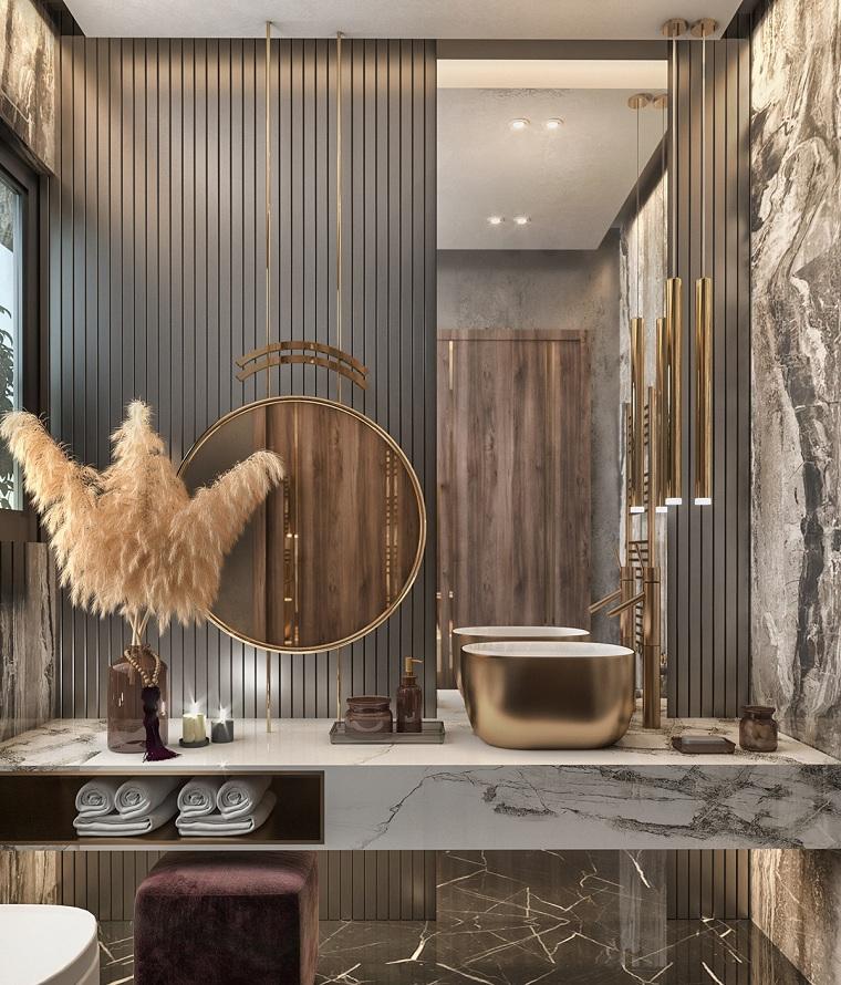 Bagni moderni, mobile lavabo in marmo, parete rivestita di legno e specchi