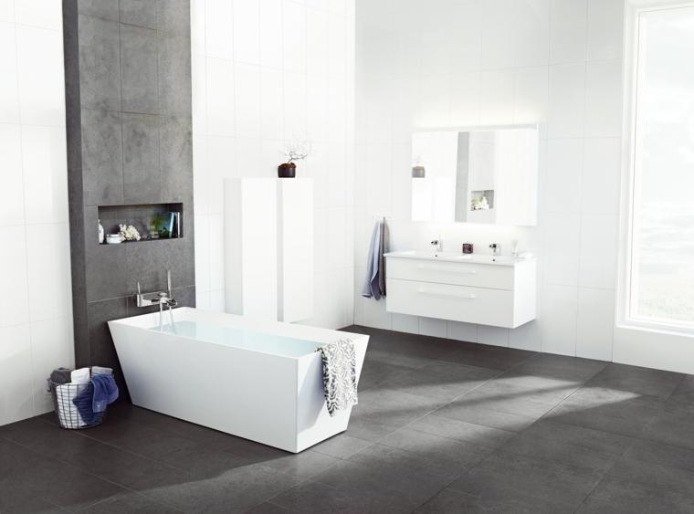 Rivestimenti bagni moderni immagini con piastrelle di colore grigio, mobili bianchi e lucidi