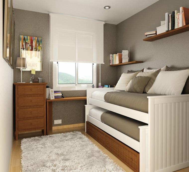 letti a castello con copriletti tortora, così come i cuscini e le pareti, mensole e mobile in legno