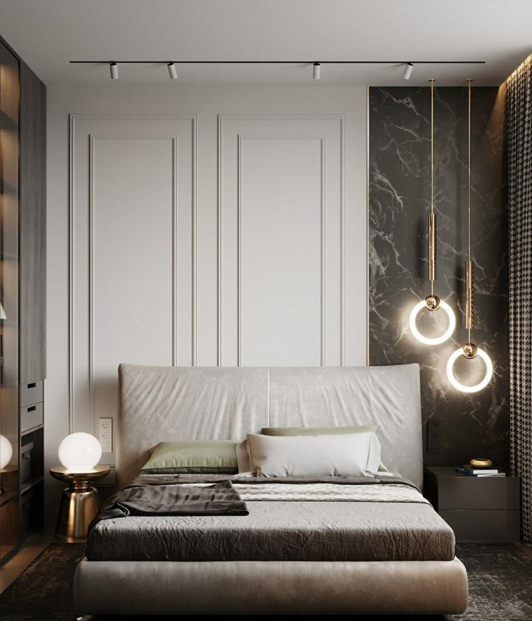 pittura camera da letto tortora testata in pelle rivestimento pareti in pannelli di marmo