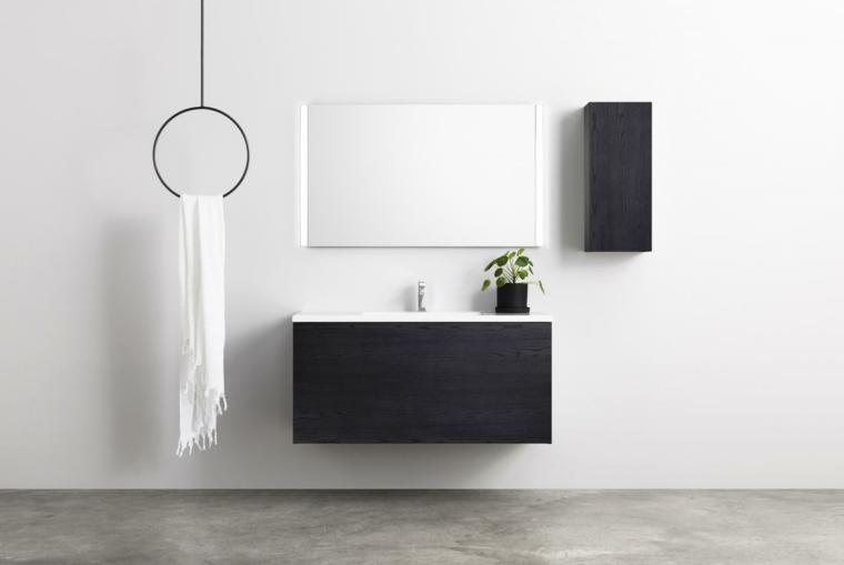 Mobile lavabo di colore nero con armadietto piccolo da parete, portasciugamani cerchio appeso dal soffitto
