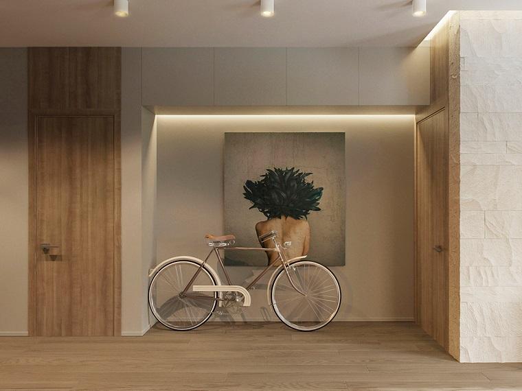 Arredamento soggiorno moderno design con pareti di colore grigio e quadro artistico