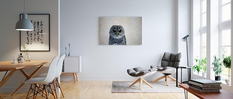 Arredamento soggiorno moderno design con poltrona e quadro da parete con gufo