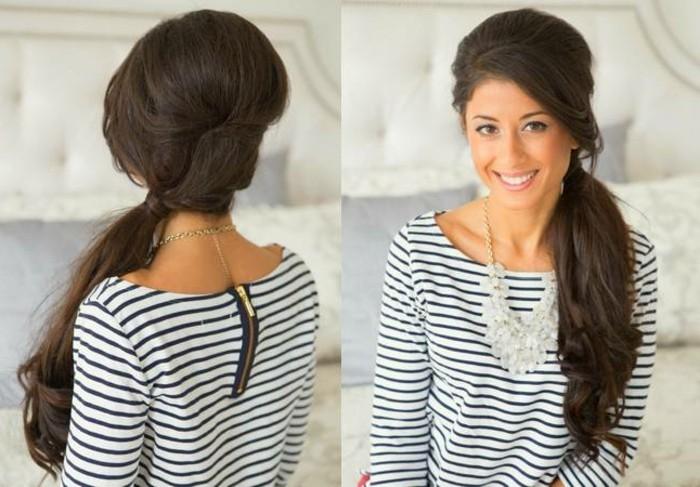 capelli lunghi castano scuri raccolti in una coda a lato morbida, idea per pettinature facili e veloci