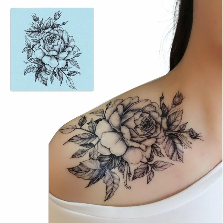 bellissimo disegno per tatuaggio rosa spalla in bianco e nero con foglie e boccioli