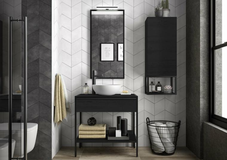 Idee rivestimento bagno, mobile di legno con lavabo da appoggio e specchio sulla parete