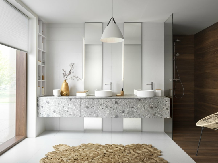Piastrelle bagno moderno, sala da bagno con box doccia rivestita in legno