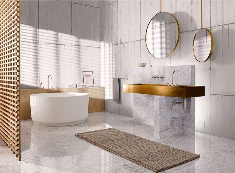 Piastrelle bagno moderno, rivestimento in marmo bianco, sala da bagno con vasca