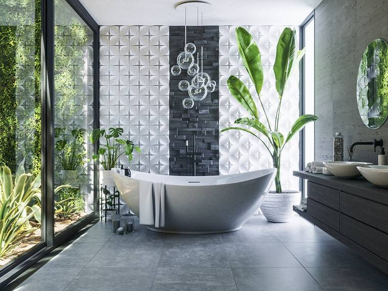 Sala da bagno con vasca, mobile in legno sospeso con lavabi, bagni moderni